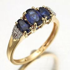 Lady Band Fashion Engagement Size 6,7,8,9,10 Blue Sapphire 18K Gold Filled Ring