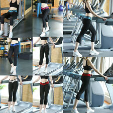 Women Sport Athletic Running Gym Fitness Yoga Waistband Capri Leggings Pants Hot