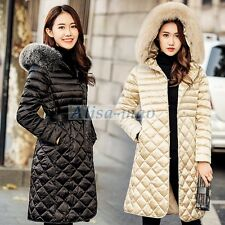 Women's Winter Warm Duck Down Jacket Fur Hooded Coat Outwear Parka Slim Grid New