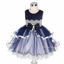 Lace Tiered Tulle Wedding Flower Girl Bridesmaid Dresses Baby Size 9m-4y FG378