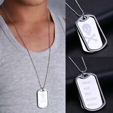 Men's Simple Army Military Skull Dog Tag Pendant Necklace Chain Jewelry Gift