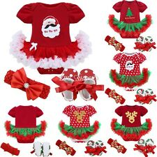 3Pcs Christmas Infant Baby Girl Xmas Romper Tutu Dress Outfit Shoes Set Costume