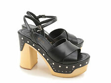 Prada fashion black leather sandals with wooden platform made in Italy
