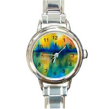 Italian Charm Metal Watch Round Square Abstract 14 blue orange green L.Dumas