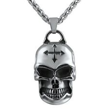 3d Silver Skull Pendant With 24 inch Stainless Steel Necklace