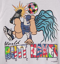 Vintage 1993 BUTT NAKED Troll World SOCCER T-Shirt WHITE NWT NEW Old Stock XL