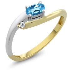 10K Two-Tone Diamond Accent Ring Oval Swiss Blue Topaz (0.32 cttw)