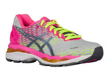 NEW WOMENS ASICS GEL-NIMBUS 18 RUNNING SHOES TRAINERS SILVER / TITANIUM / HOT PI