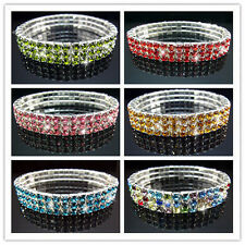 Free Lot VEGAS Many color Rhinestone STRETCH BANGLE BRACELET 3ROW Bridal Jewelry