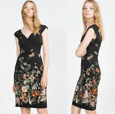 NEW NWT ZARA BLACK GARDEN SUMMER FLORAL TUBE SHEATH DATE DRESS XS S M L SOLD OUT