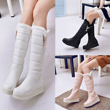 Womens Girls Mid-calf Knee High Boots Faux Leather Wedge Heels Winter Snow Boots