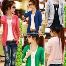 Women Candy Irregular Hem Casual Cardigan Tops Knit Sweater Long sleeve SH