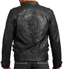 Affliction American Customs - ON FIRE - Men's Leather Biker Jacket  NEW - Black
