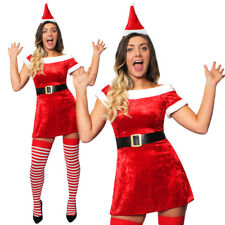 LADIES MISS SANTA DRESS VELOUR SKATER MRS CLAUS CHRISTMAS XMAS FANCY DRESS