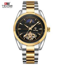 TEVISE Unisex Men Skeleton Moon Phase Automatic Mechanical Waterproof Watch U0A0