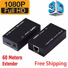 HDMI LAN Ethernet Extender Over Single Cat5E/ Cat6 RJ45,Up To 200Ft 1080P LOT
