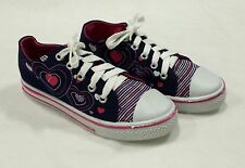 NEW GIRL'S NAVY BLUE FASHION CANVAS SNEAKERS WITH HEARTS