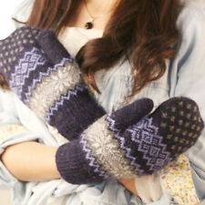 Women Girl Snowflake Knit Wool Gloves Winter Warm Mittens Finger Soft Ski Gloves