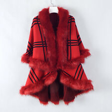 Winter Shawl Cloak Bat Sleeve Cardigan Sweater Cape Coat Poncho Women Plaid Tops
