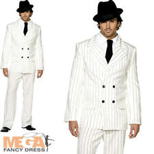 White Gangster 20s Fancy Dress Striped Suit Mens Mafia Costume 1920s Outfit New