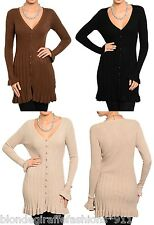 Button Front Long Sleeve Sweater Knit Tunic/Mini Cardigan Blouse Top