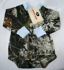 MOSSY OAK CAMOUFLAGE & BLUE BABY INFANT LONG SLEEVE CAMO SNAP DIAPER SHIRT