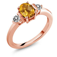0.90 Ct Oval Checkerboard Yellow Citrine White Diamond 18K Rose Gold Ring