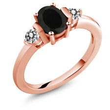 1.00 Ct Oval Black Onyx White Diamond 18K Rose Gold Plated Silver Ring