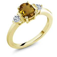 0.98 Ct Oval Whiskey Quartz White Topaz 14K Yellow Gold Ring