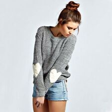 Women's Long Sleeve Casual Jumper Crew Neck Grey Sweater Pullover