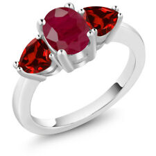 2.68 Ct Oval Red Ruby Red Garnet 14K White Gold Ring
