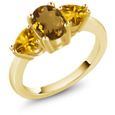 1.82 Ct Oval Whiskey Quartz Yellow Citrine 18K Yellow Gold Plated Silver Ring