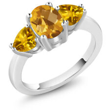 2.07 Ct Oval Checkerboard Yellow Citrine 925 Sterling Silver Ring