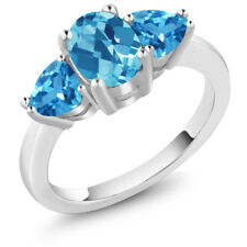 2.46 Ct Oval Checkerboard Swiss Blue Topaz 925 Sterling Silver Ring