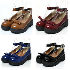 Womens Ladies Bowknot Flat Ankle Strap Mary Jane Patent Pumps Shoes Size 4-11