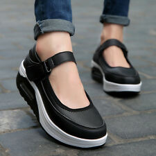 Simple Women Platform Shoes Thick Sole Middle Heel Athletic Shoes Mary Janes