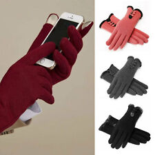 Womens Winter Warm Fleece Lined Cotton Gloves Ladies Touch Screen Mittens New AS