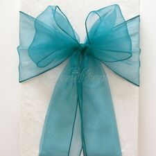 Teal Blue Premium Organza Chair Cover Sash Bow Wedding Party Dinning Decors