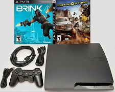 Sony PS3 Slim 320gb Video Game Console System Bundle BLACK Brink & Motorstorm -C