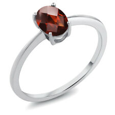 0.80 Ct Oval Checkerboard Red Garnet 10K White Gold Ring
