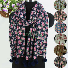 Fashion Flower With Pom Pom Tassle Knitted Warm 2Layer Long Scarf/Infinity Scarf