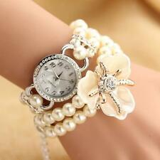 Sweet Pearls Floral Bracelet Bangle Wrist Quartz Watch Girls Gift Accessory