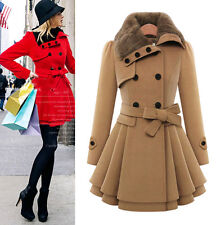 Womens Double Breasted Wool Trench Coat Warm Slim Fur Collar Overcoat Outwear