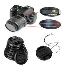49-58mm center pinch snap on Front Lens Cap Cover for Canon Nikon Sony w string