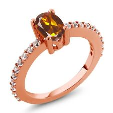 1.00 Ct Madeira Citrine White Created Sapphire 18K Rose Gold Plated Silver Ring