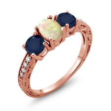 1.83 Ct Oval Cabochon White Ethiopian Opal Blue Sapphire 14K Rose Gold Ring