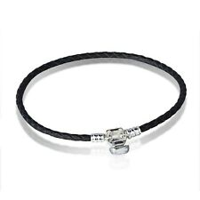 Black Leather Brand Bracelets chains bangle Fit 925 Silver European charms Bead