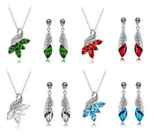 1 Set Gorgeous Peacock Jewelry Sets Charm Crystal Pendant Necklace Earrings