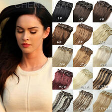 """Straight 15""""-22"""" Clip in Real Human Hair Extensions Full Head Set 70g-120g"""