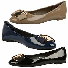 WOMENS PUMPS LADIES BALLET FLATS DOLLY SHOES WORK OFFICE BOW BALLERINAS SIZE NEW